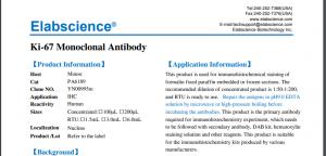 Gambar 1. Datasheet Elabscience RTU antibodies Ki-67 Monoclonal Antibody cat PA6189